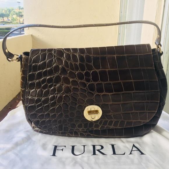 Furla Bags   Vintage Olivegreen Alligator Shoulder Bag   Poshmark eea5547dd1